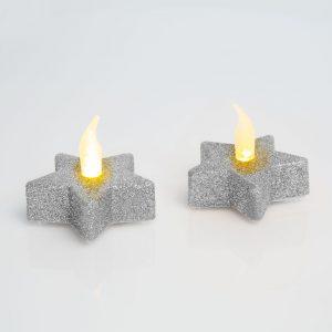 LED čajna svečka v obliki zvezde v srebrni barvi, 2 kosa / blister