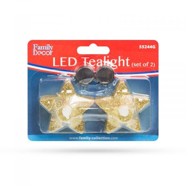 LED čajna svečka v obliki zvezde v zlati barvi, 2 kosa / blister