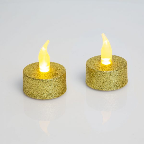 LED čajna svečka - zlata - 2 kos