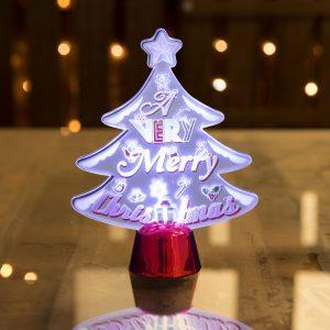 LED dekor za božično mizo - božično drevo - 15 cm