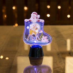 LED dekor za božično mizo - škoren - moder - 11 cm