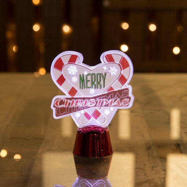 LED dekor za božično mizo - srček - 11 cm