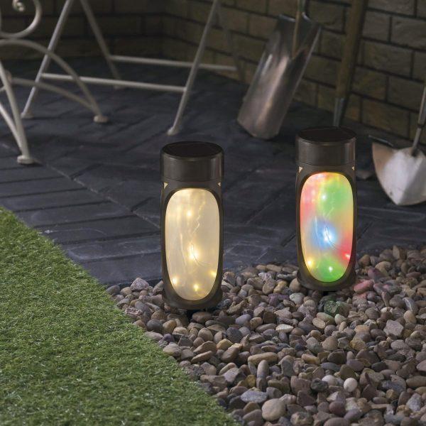 LED solarna svetilka - MicroLED - toplo bela + RGB - črna - 280 mm