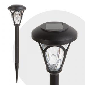 LED solarna svetilka - pleksi steklo z vzorcem - črna - 400 mm
