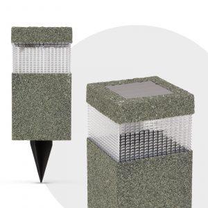 LED solarna svetilka - vzorec kamna - plastika