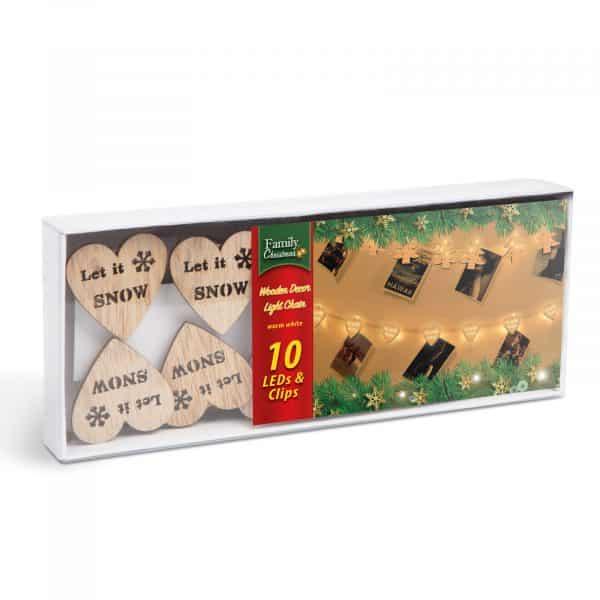 LED sponke za božično drevo v obliki srčkov - toplo bela LED - 2 x AA