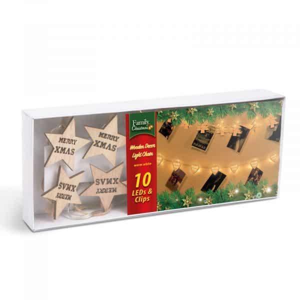 LED sponke za božično drevo v obliki zvezdic - toplo bela LED - 2 x AA