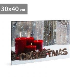 "LED stenska slika - ""christmas"" - 2 x AA, 30 x 40 cm"