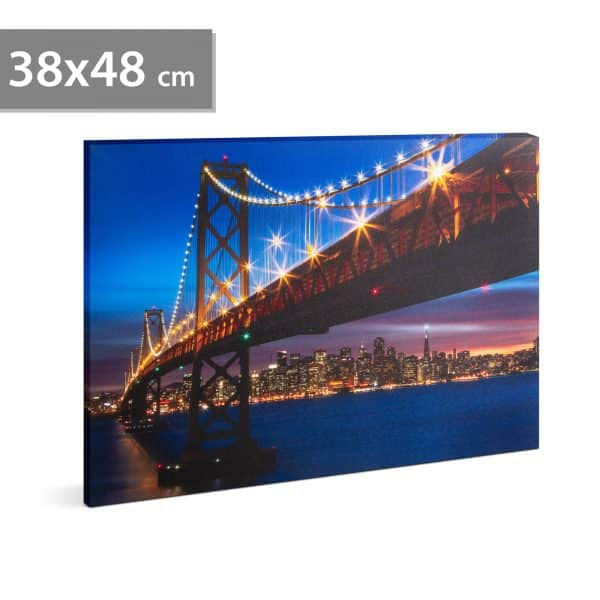"LED stenska slika - ""Golden Gate Bridge"" - 2 x AA, 38 x 48 cm"