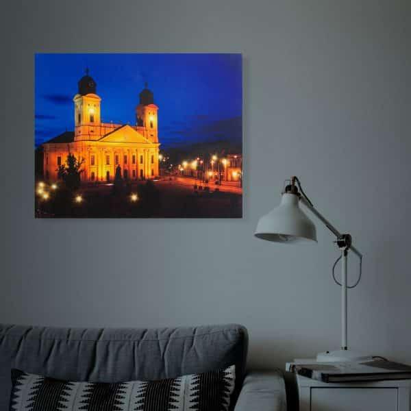"""LED stenska slika- """"Great Church Debrecen"""" - 3 x AA, 38 x 48 cm"""