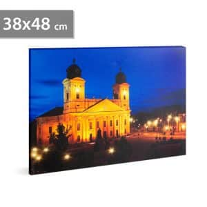 "LED stenska slika- ""Great Church Debrecen"" - 3 x AA, 38 x 48 cm"