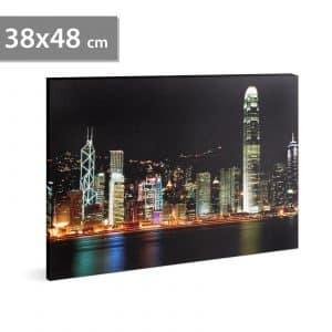 "LED stenska slika - ""HongKong"" - 2 x AA, 38 x 48 cm"