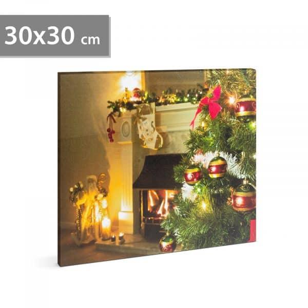 LED stenska slika - kamin - 2 x AA, 30 x 30 cm