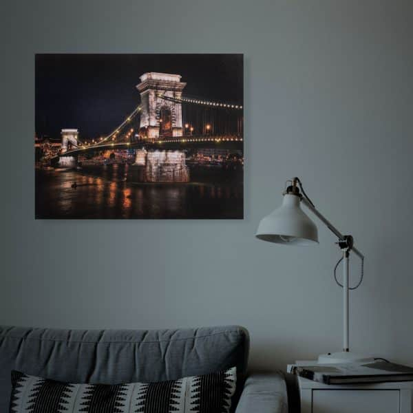 "LED stenska slika - ""Lánchíd"" - 2 x AA, 38 x 48 cm"