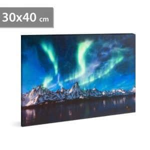 """LED stenska slika - """"polarna luč"""" - 2 x AA, 30 x 40 cm"""