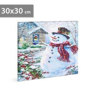 LED stenska slika - snežak - 2 x AA, 30 x 30 cm