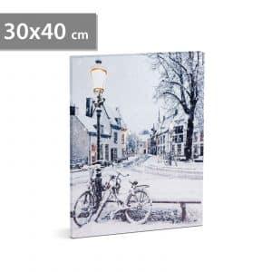 LED stenska slika - zimska pokrajina - 2 x AA, 30 x 40 cm