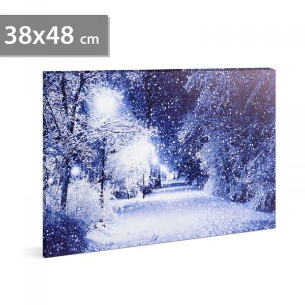 LED stenska slika - zimska pokrajina - 2 x AA, 38 x 48 cm