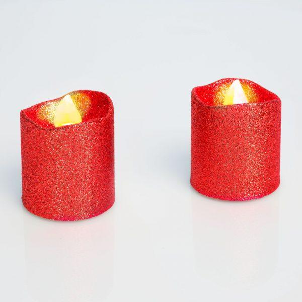 LED svečka, rdeča, 2 kos / blister