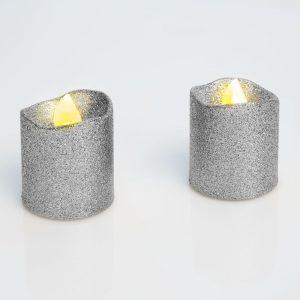LED svečka, srebrna, 2 kos / blister