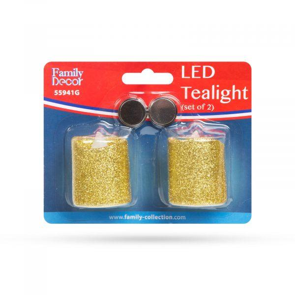 LED svečka, zlata, 2 kos / blister