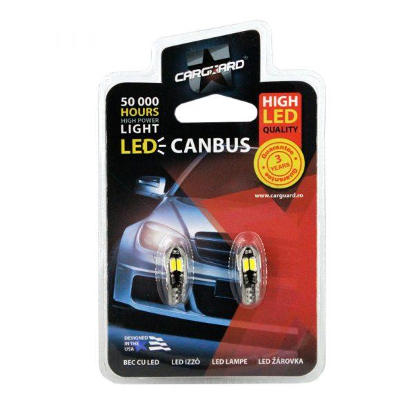 LED žarnica - sijalka Canbus - T10 - 3W - 240 lumnov - 8 SMD LED, 2 kos / blister
