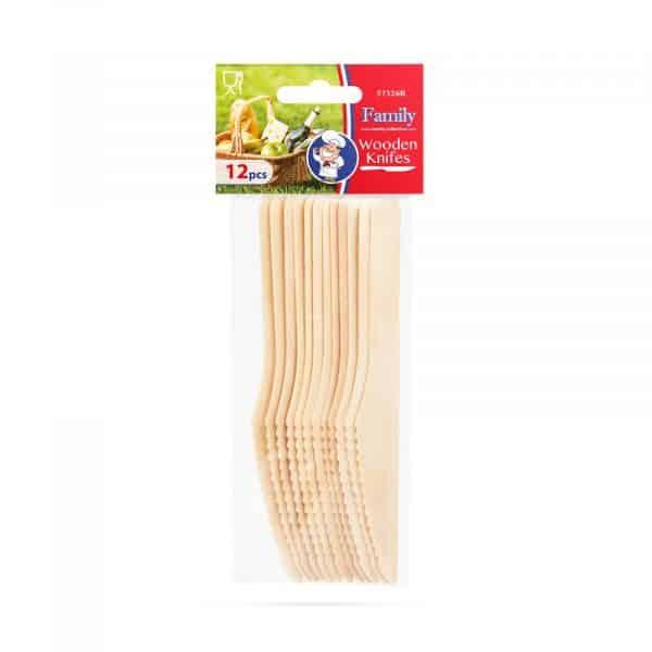 Leseni set jedilnega pribora - nož - 12 kosov / paket