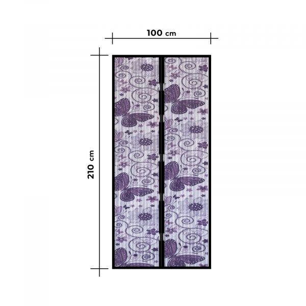 Magnetna zavesa proti komarjem za vrata 100 x 210 cm - vijolični metuljčki