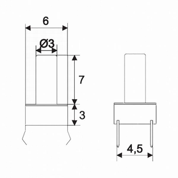 Mikro stikalo - 1 vezje - 0,05 A - 12 V DC - OFF - (ON) z dolgim gumbom