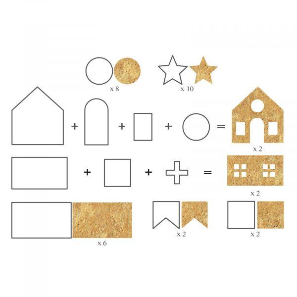 Modelčki za izdelavo 3D hišice iz medenjakov - 18 kosov