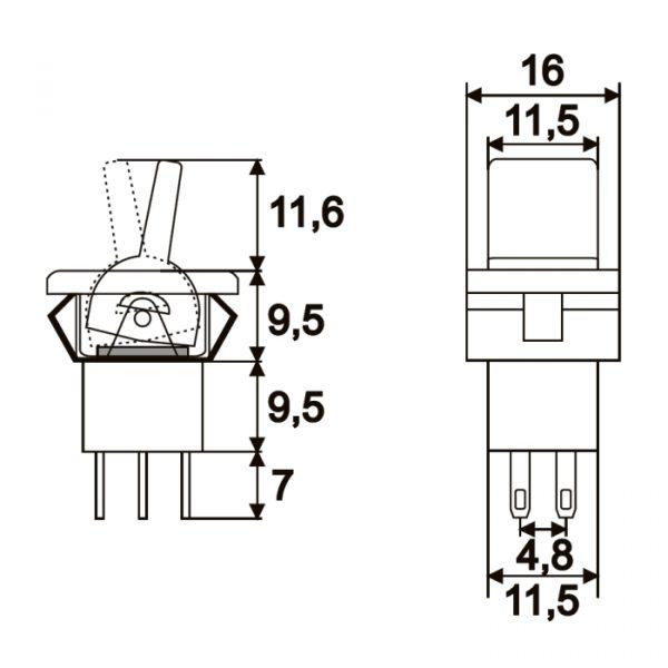 Momentno preklopno stikalo - 2 vezja 3 A - 250 V - (ON) - OFF - (ON)