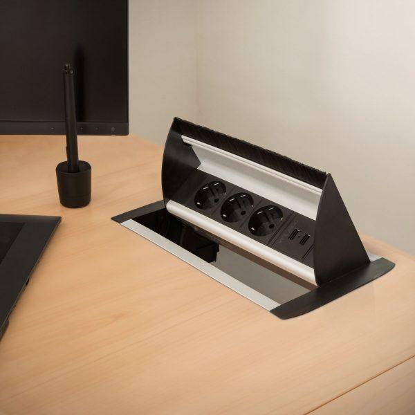Namizni izvlečni potopni razdelilec s 3 vtičnicami + 2 x USB, 2,1A, srebrni