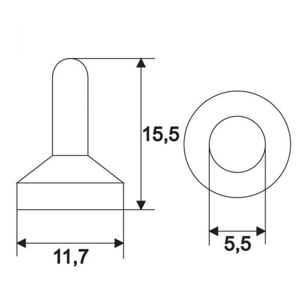 Nepropustna silikonska kapa za ročna stikala - 11,7 x 15,5 mm