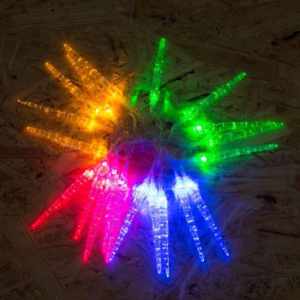 Novoletne LED lučke na baterije - ledene sveče - barvne, 2 m