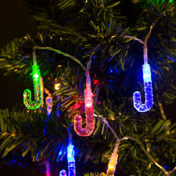 Novoletne LED lučke na baterije - lizike - barvne, 2 m