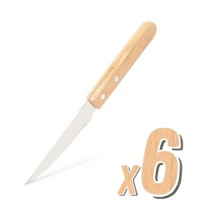 Nož za žar - 6 kosov - z lesenim ročajem