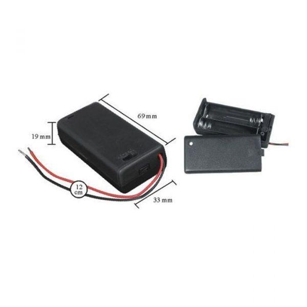 Ohišje za baterije 2 x AA s stikalom