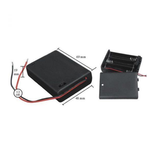 Ohišje za baterije 3 x AA s stikalom