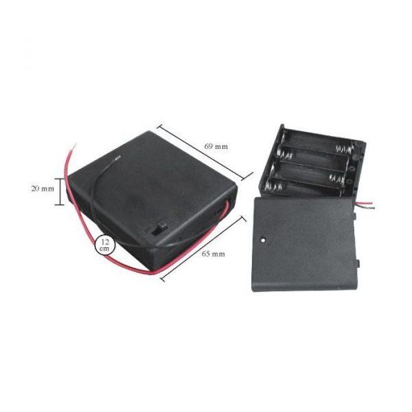 Ohišje za baterije 4 x AA s stikalom