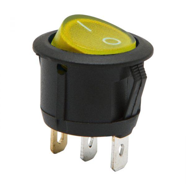 Osvetljeno preklopno stikalo - 1 vezje - 6 A - 250 V - ON - OFF - rumena luč