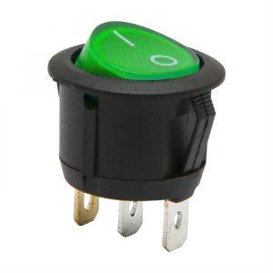 Osvetljeno preklopno stikalo - 1 vezje - 6 A - 250 V - ON - OFF - zelena luč
