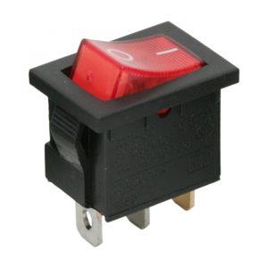 Osvetljeno preklopno stikalo - 1 vezje - 6A - 250V - OFF - ON - rdeča luč