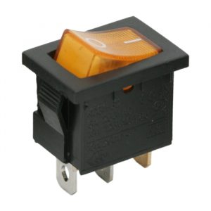 Osvetljeno preklopno stikalo - 1 vezje - 6A - 250V - OFF - ON - rumena luč