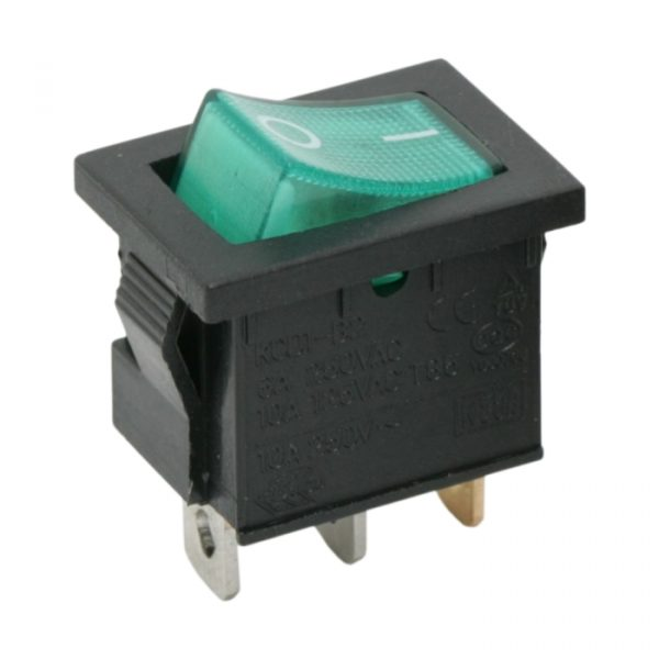 Osvetljeno preklopno stikalo - 1 vezje - 6A - 250V - OFF - ON - zelena luč