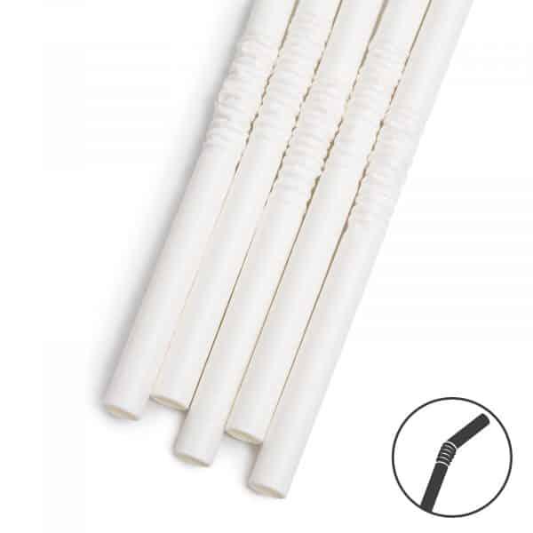 Papirnata slamica - bela - 250 x 6 mm - 150 kosov / paket