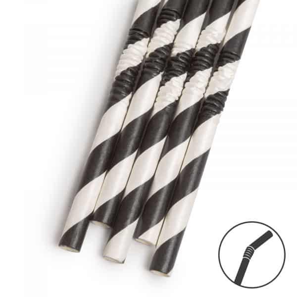 Papirnata slamica - črna - 250 x 6 mm - 150 kosov / paket