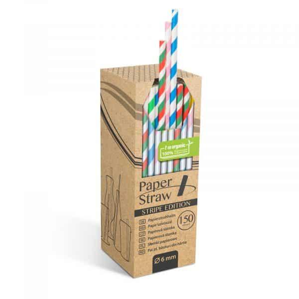 Papirnata slamica - črtasta - 197 x 6 mm - 150 kosov / paket