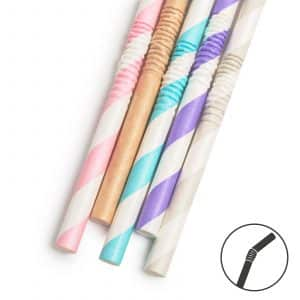 Papirnata slamica - pastel - 250 x 6 mm - 5 vrst - 150 kosov / paket