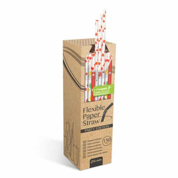 Papirnata slamica - pikčasta - 250 x 6 mm - 150 kosov / paket
