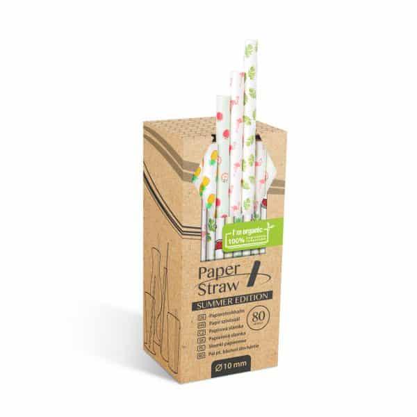 Papirnata slamica - poletni vzorec 197 x 10 mm - 80 kosov / paket